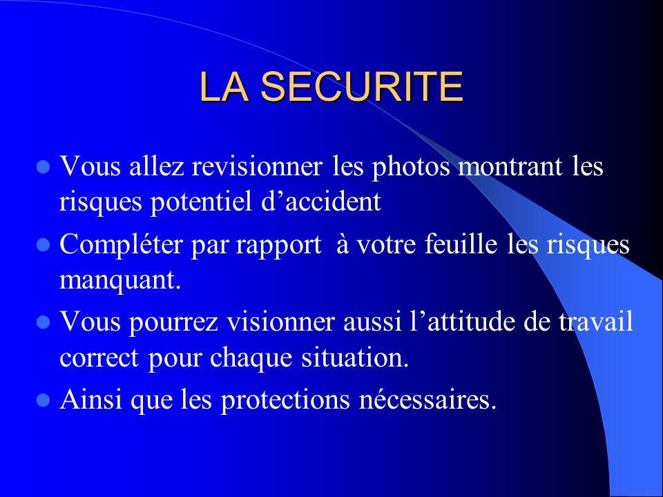 LA SECURITE Vous allez revisionner les photos montrant les risques potentiel d'accident.