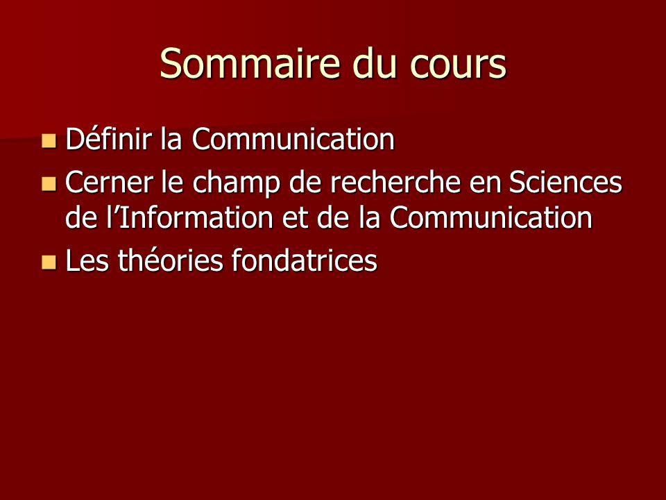 Sommaire du cours Définir la Communication