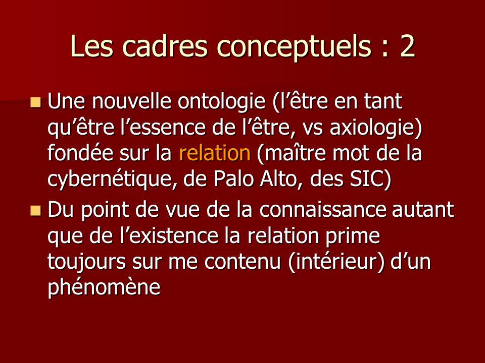 Les cadres conceptuels : 2