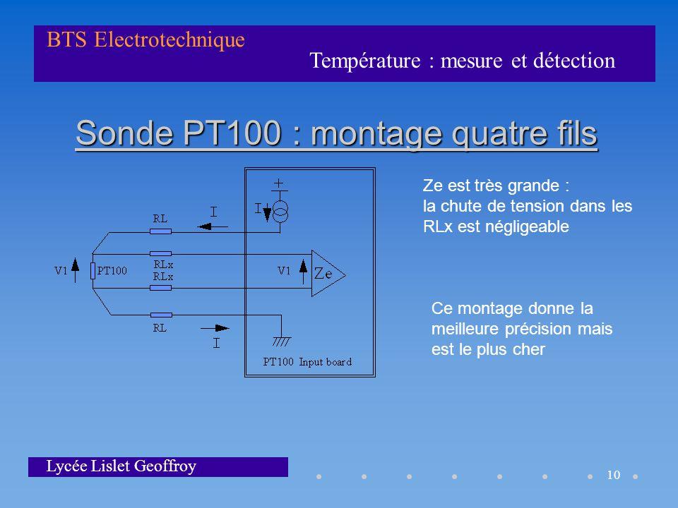 Sonde PT100 : montage quatre fils