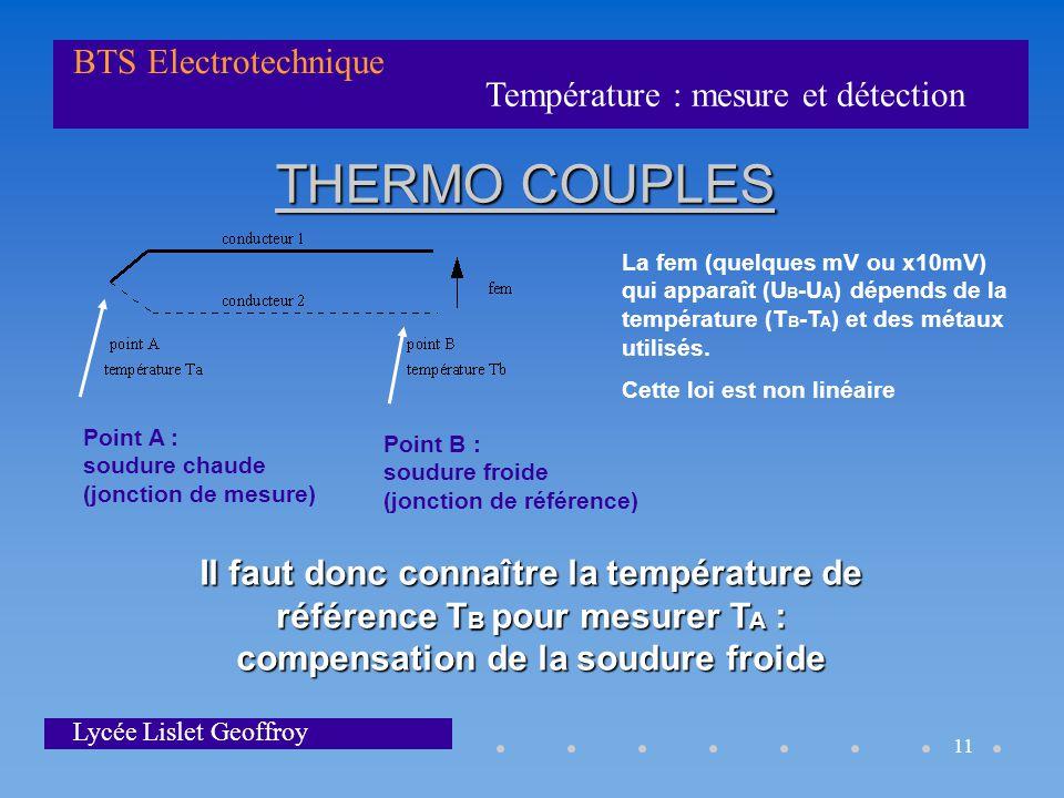 THERMO COUPLES La fem (quelques mV ou x10mV) qui apparaît (UB-UA) dépends de la température (TB-TA) et des métaux utilisés.