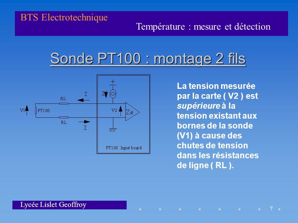 Sonde PT100 : montage 2 fils