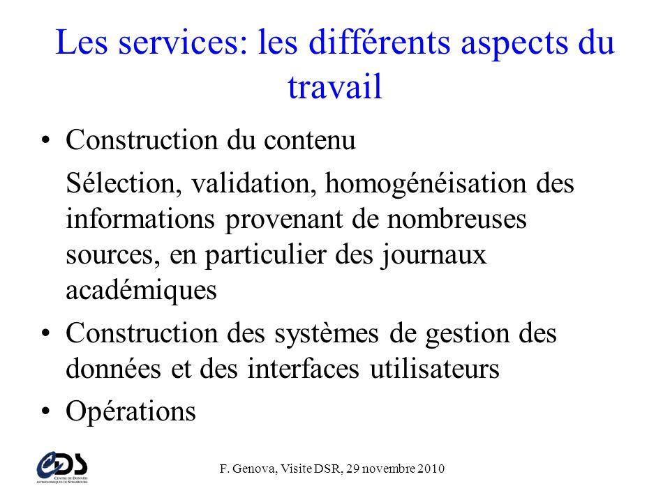 Les services: les différents aspects du travail