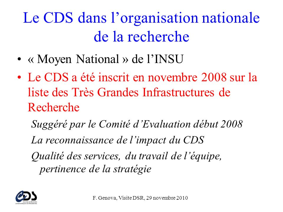 Le CDS dans l'organisation nationale de la recherche
