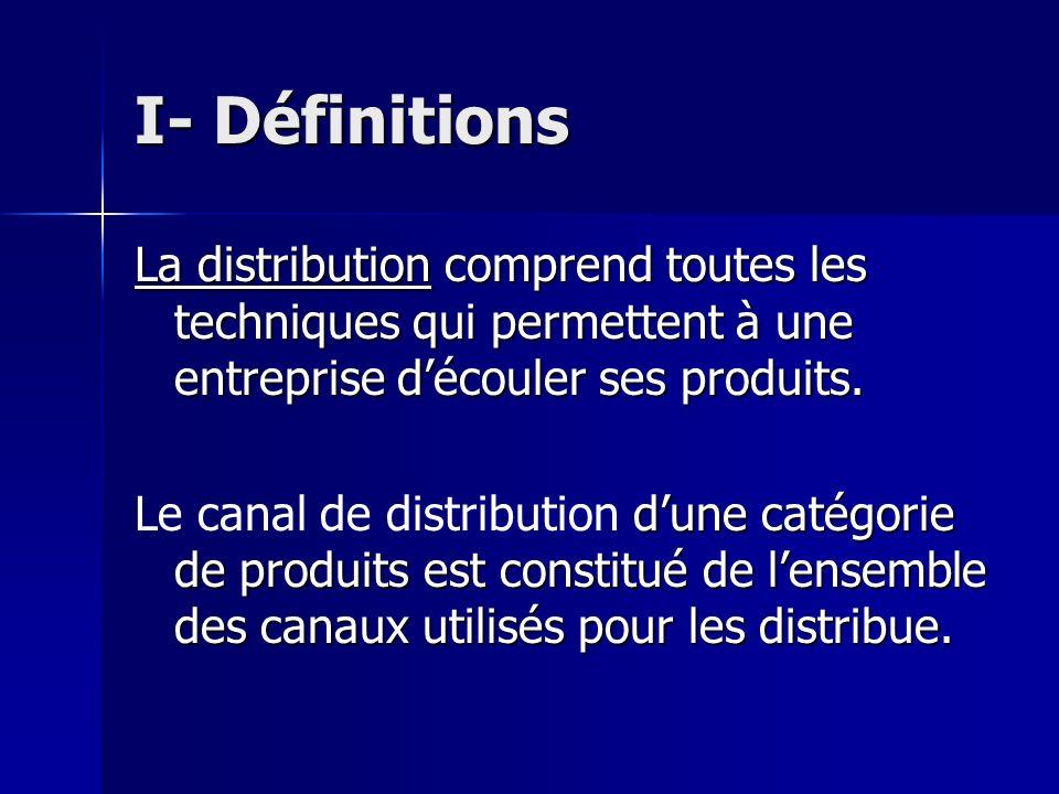 I- Définitions La distribution comprend toutes les techniques qui permettent à une entreprise d'écouler ses produits.