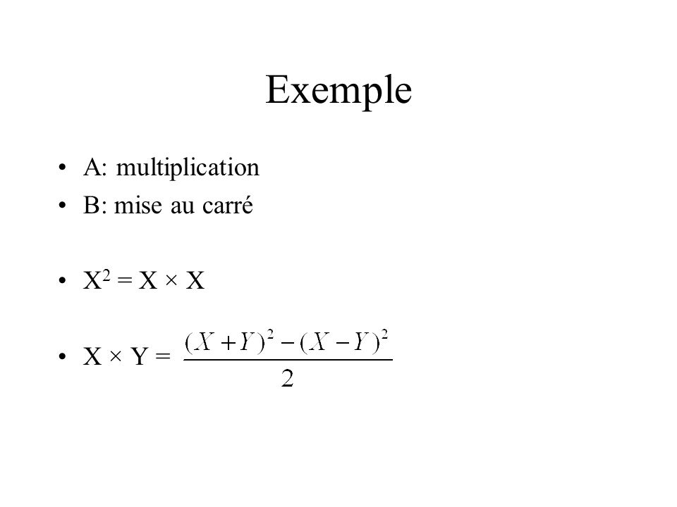 Exemple A: multiplication B: mise au carré X2 = X × X X × Y =
