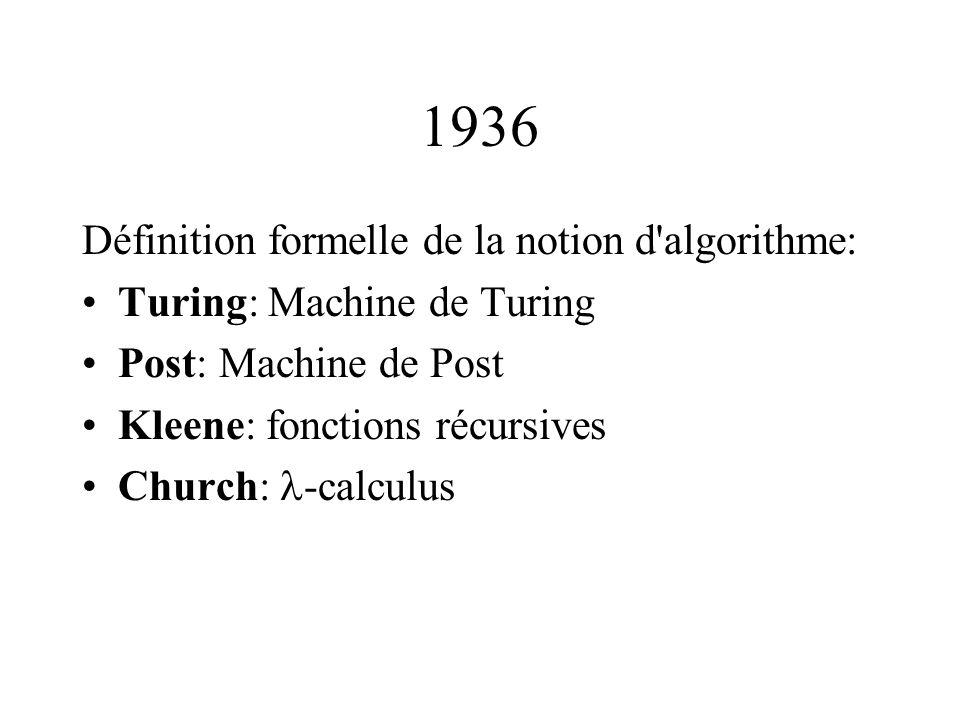 1936 Définition formelle de la notion d algorithme: