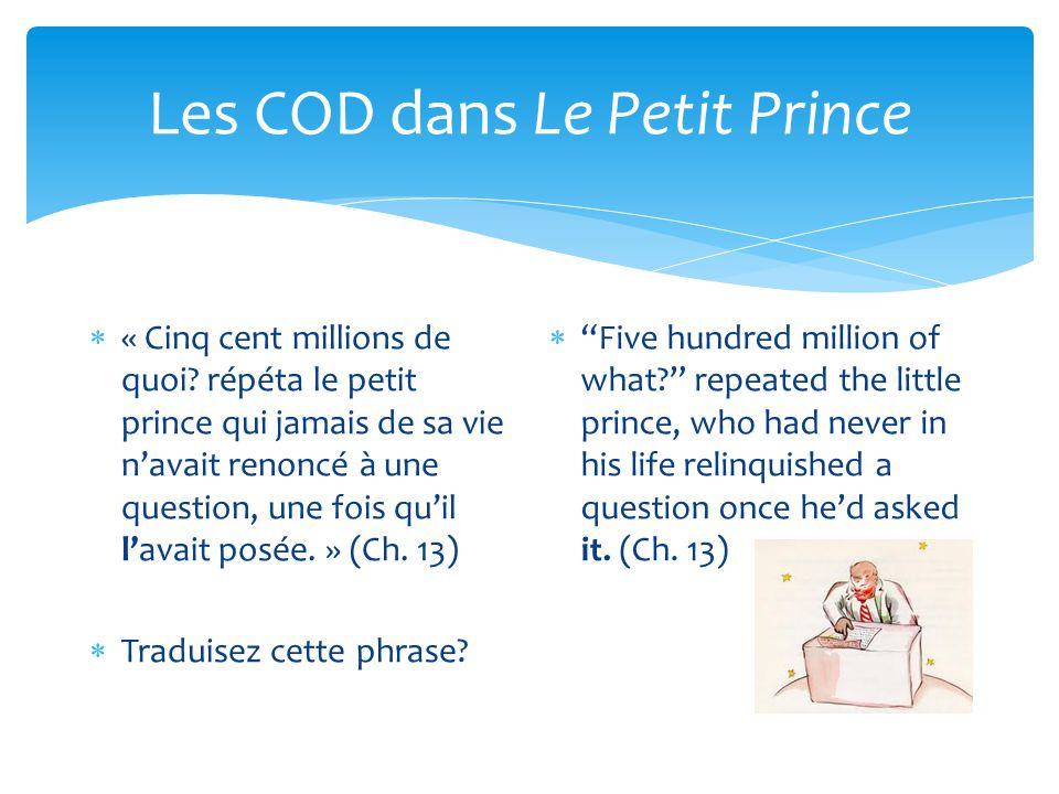 Les COD dans Le Petit Prince