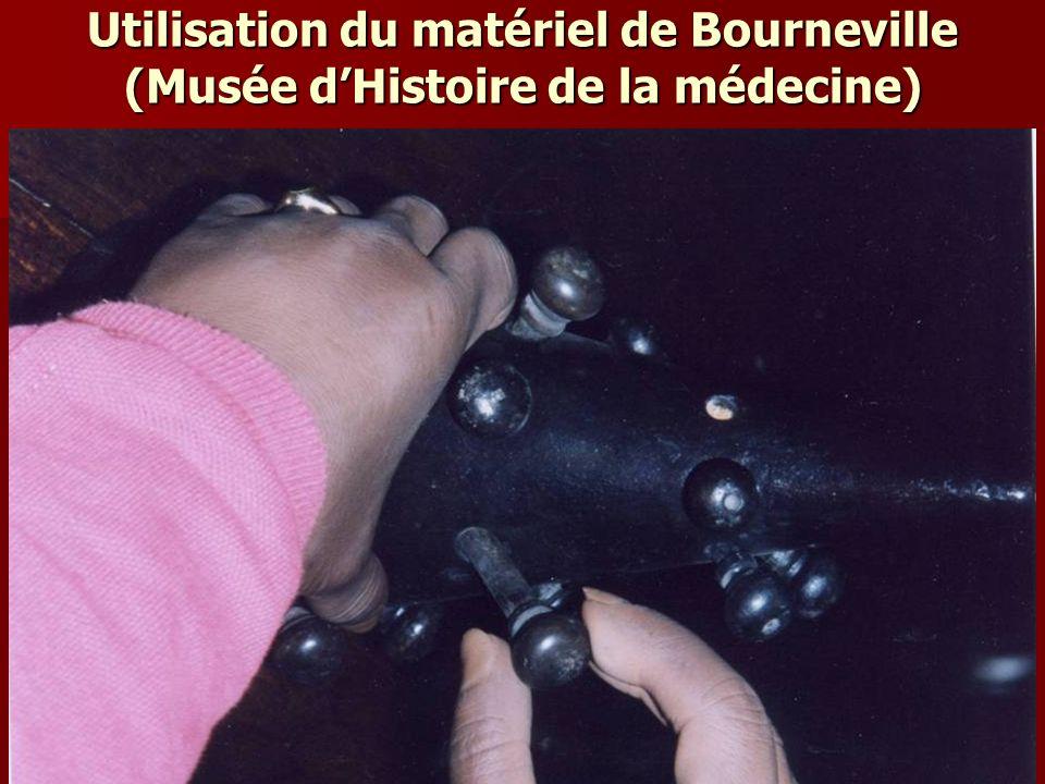 Utilisation du matériel de Bourneville (Musée d'Histoire de la médecine)