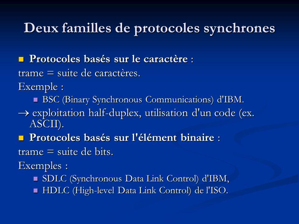 Deux familles de protocoles synchrones