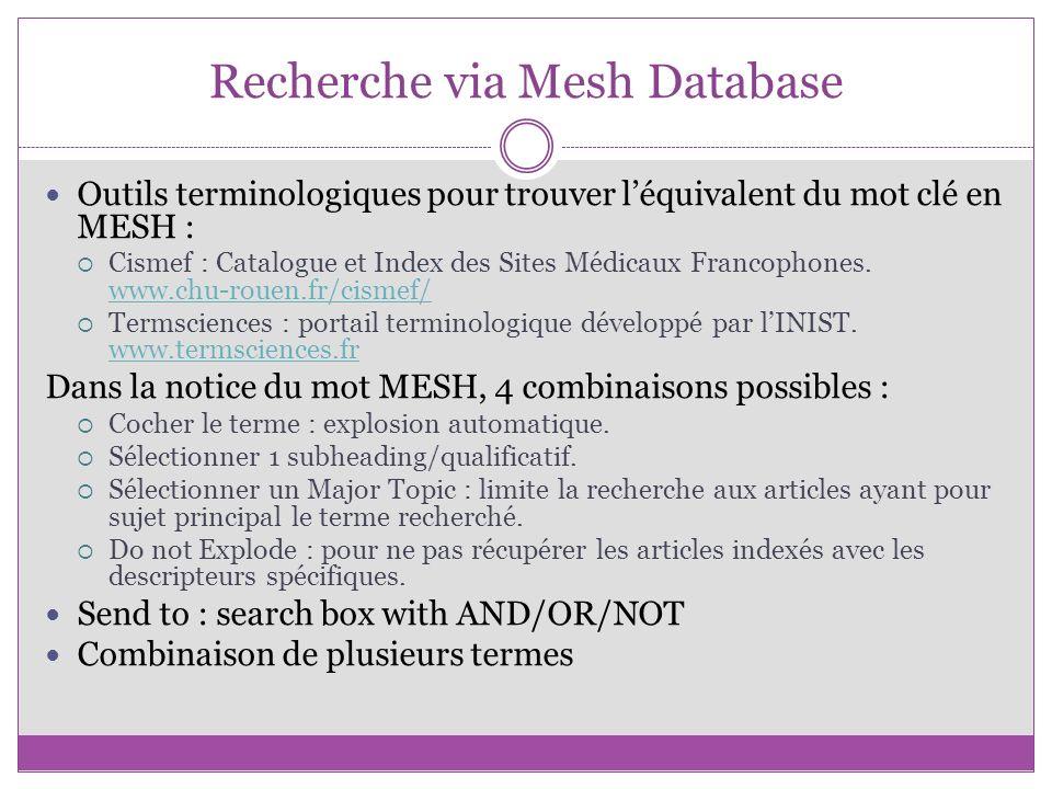 Recherche via Mesh Database
