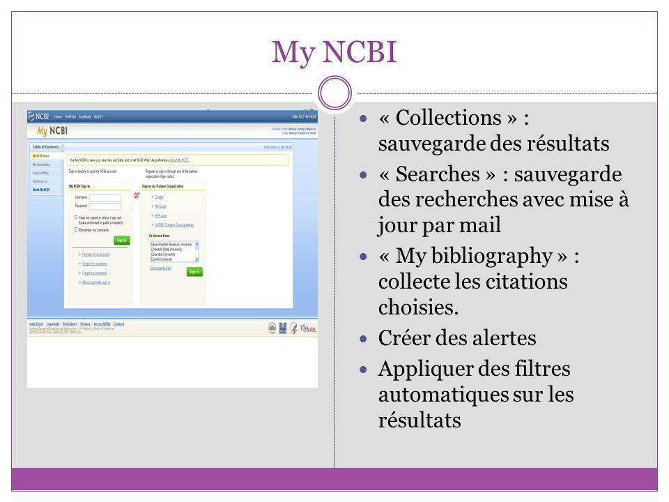 My NCBI « Collections » : sauvegarde des résultats