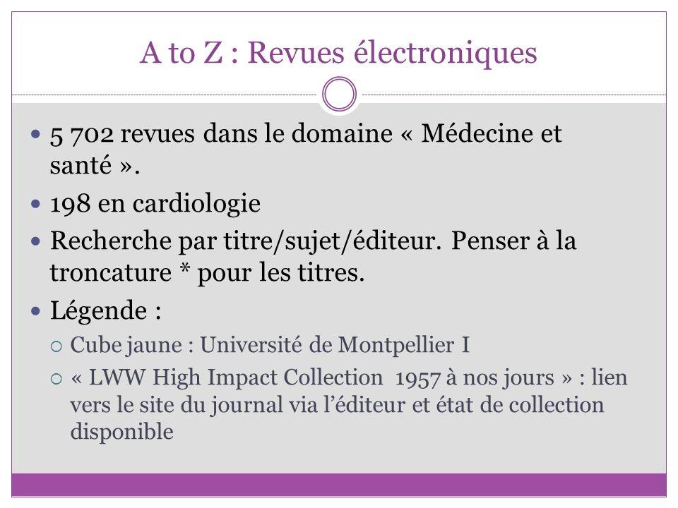 A to Z : Revues électroniques