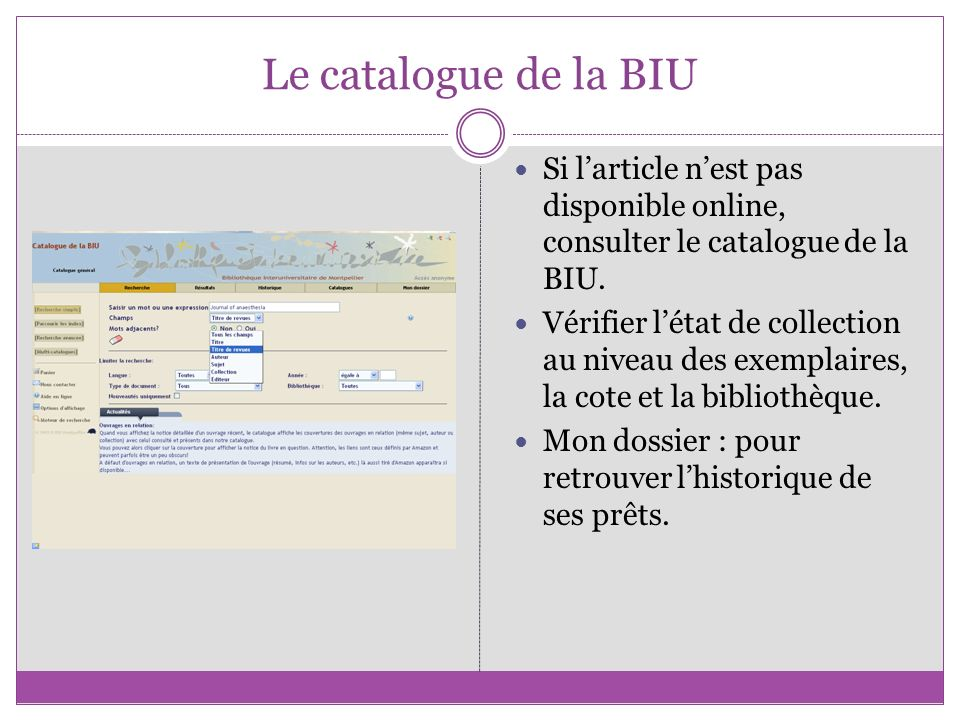 Le catalogue de la BIU Si l'article n'est pas disponible online, consulter le catalogue de la BIU.