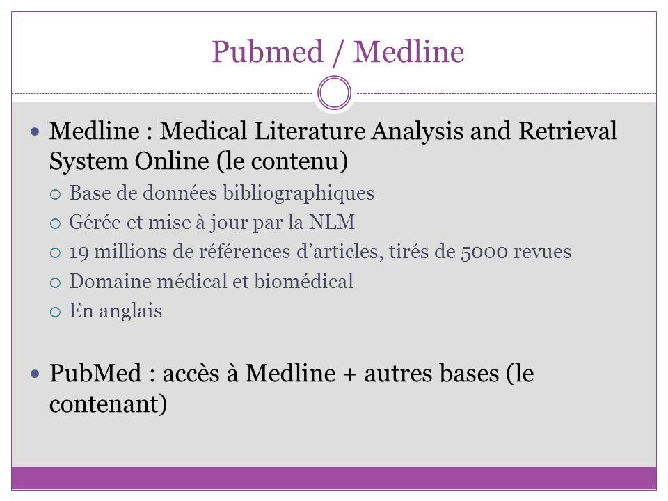 Pubmed / Medline Medline : Medical Literature Analysis and Retrieval System Online (le contenu) Base de données bibliographiques.