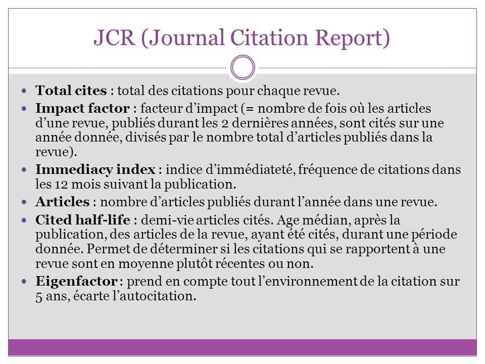 JCR (Journal Citation Report)