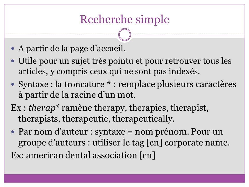 Recherche simple A partir de la page d'accueil.