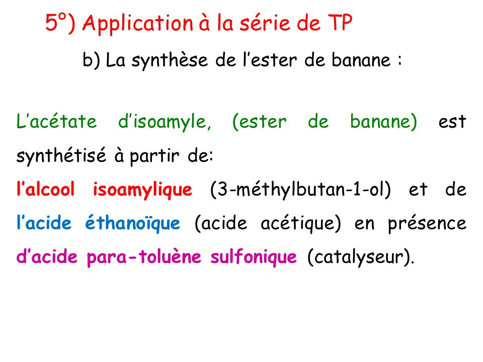 b) La synthèse de l'ester de banane :