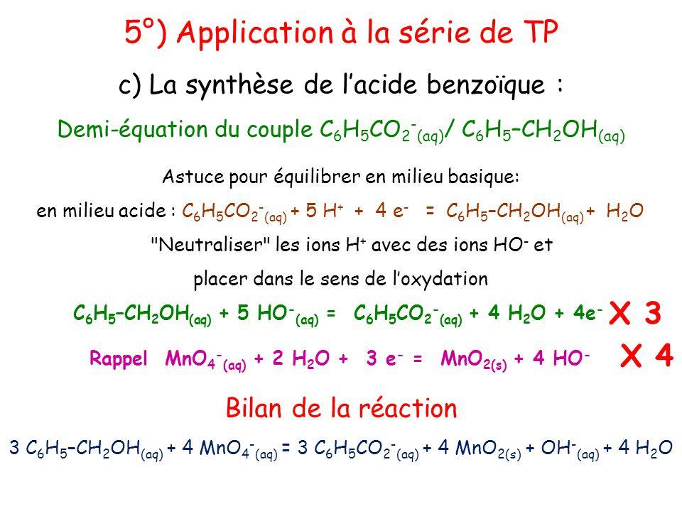 Rappel MnO4-(aq) + 2 H2O + 3 e- = MnO2(s) + 4 HO-