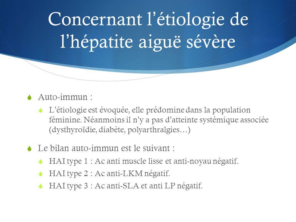 Concernant l'étiologie de l'hépatite aiguë sévère