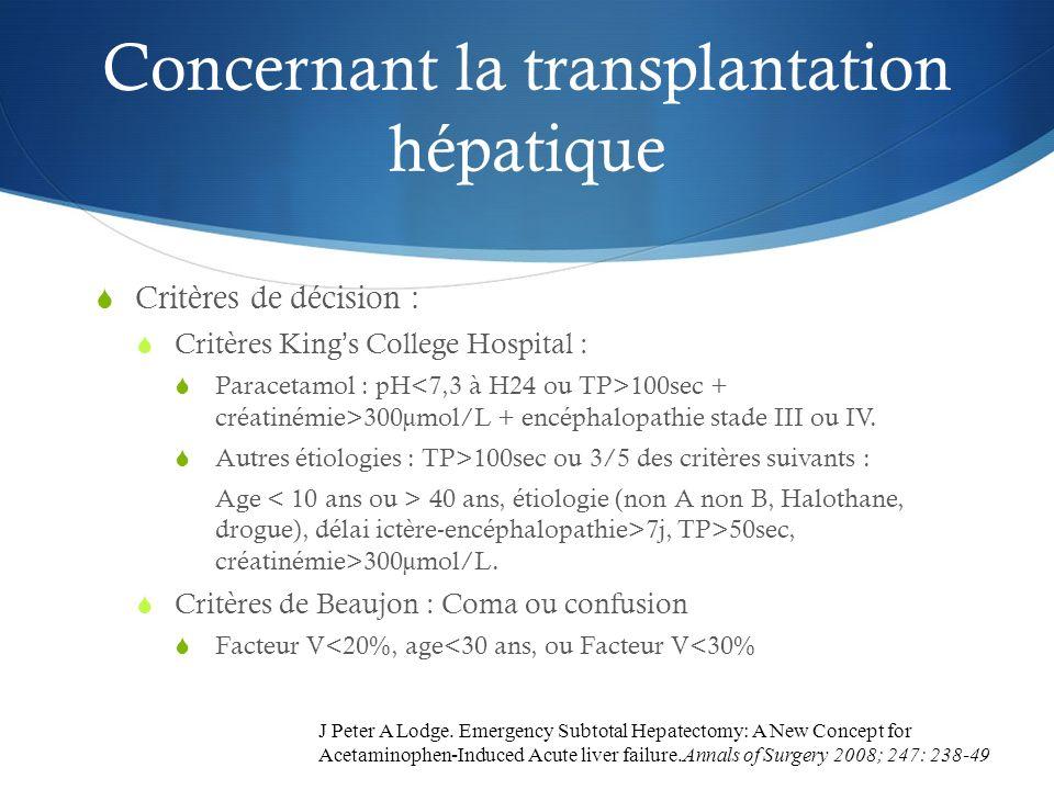 Concernant la transplantation hépatique