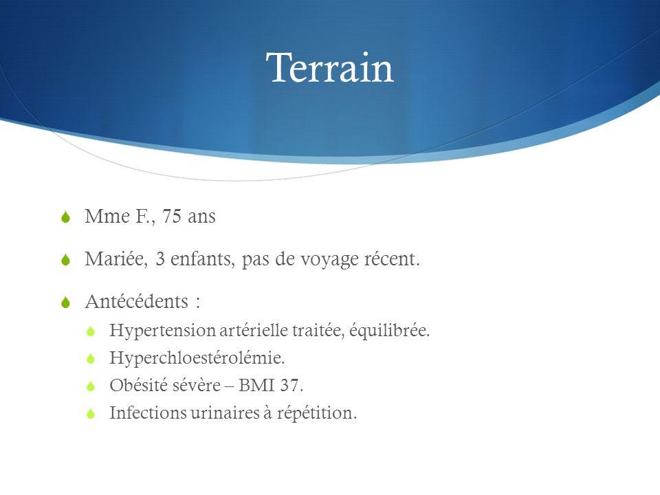 Terrain Mme F., 75 ans Mariée, 3 enfants, pas de voyage récent.