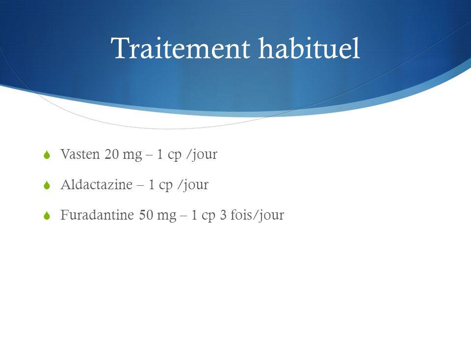 Traitement habituel Vasten 20 mg – 1 cp /jour Aldactazine – 1 cp /jour