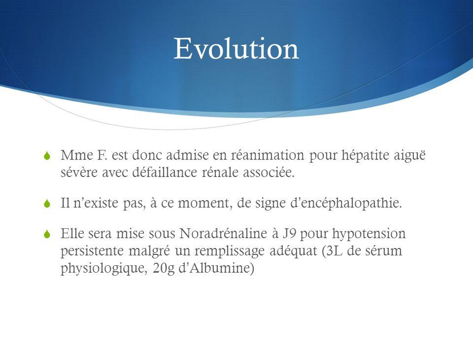 Evolution Mme F. est donc admise en réanimation pour hépatite aiguë sévère avec défaillance rénale associée.