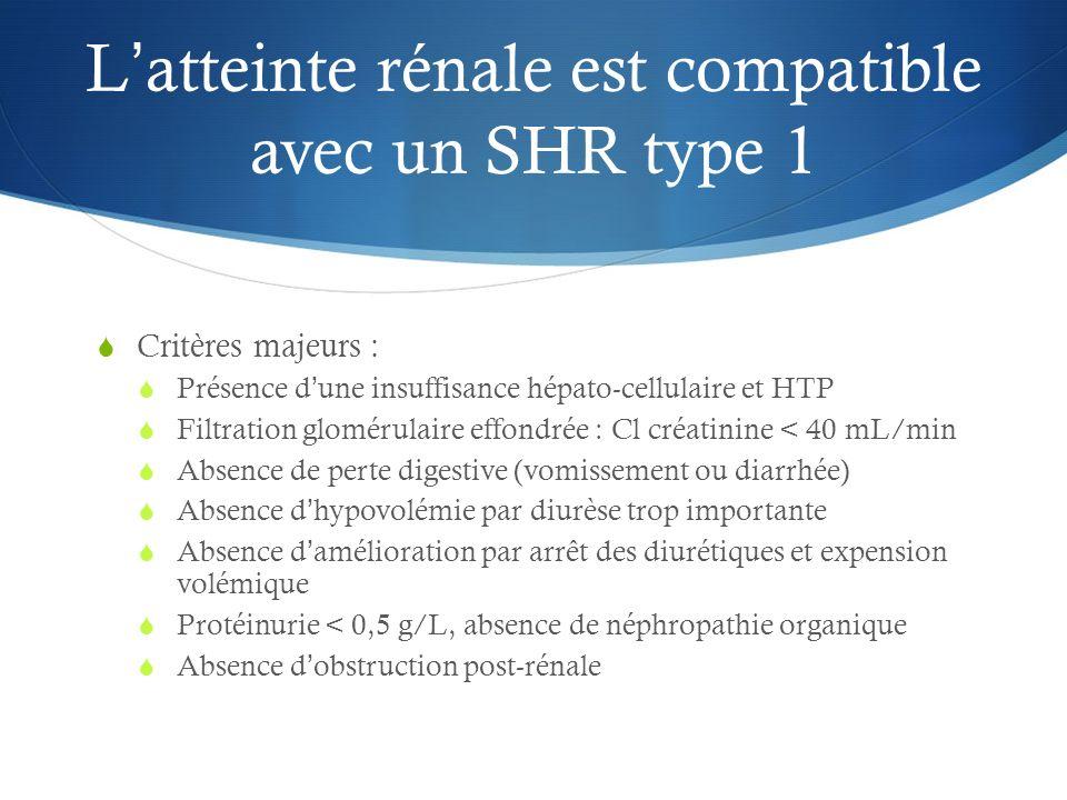 L'atteinte rénale est compatible avec un SHR type 1