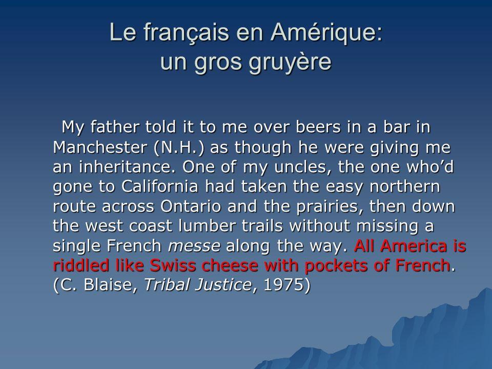 Le français en Amérique: un gros gruyère