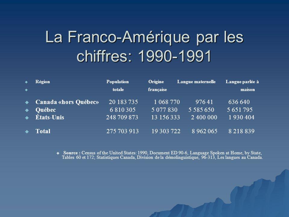 La Franco-Amérique par les chiffres: 1990-1991