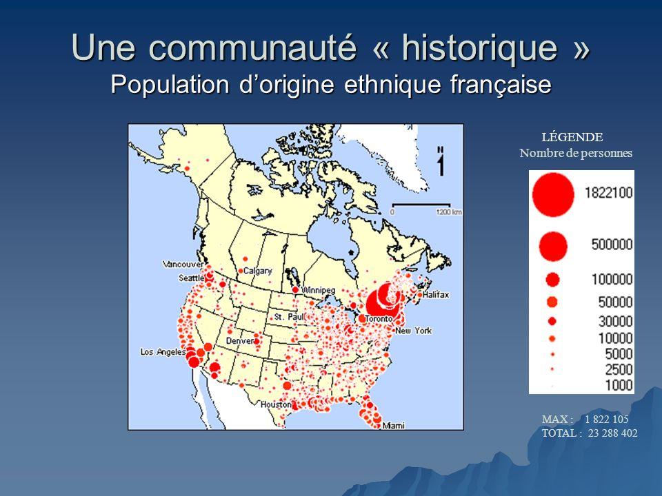 Une communauté « historique » Population d'origine ethnique française
