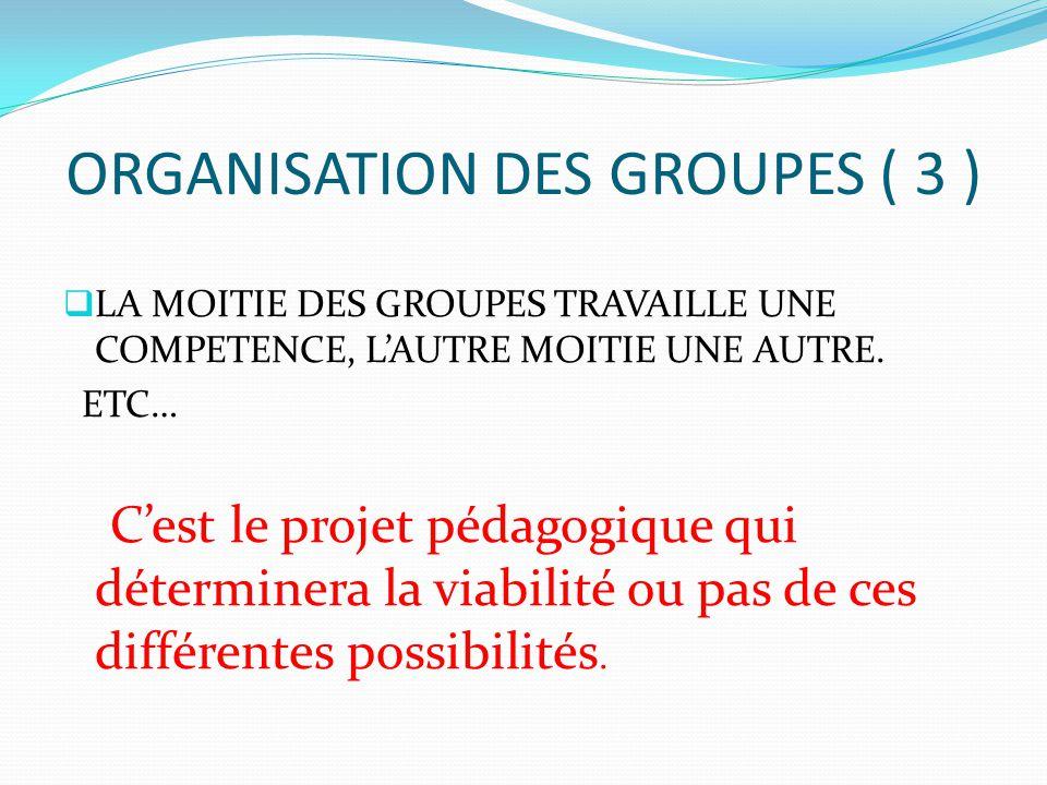 ORGANISATION DES GROUPES ( 3 )