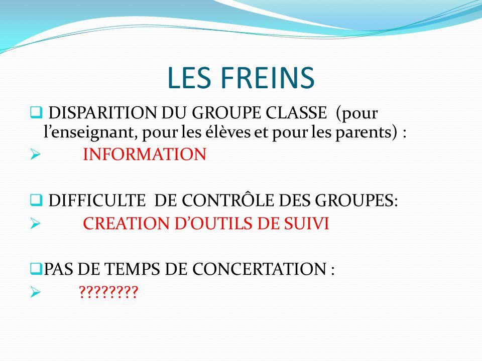 LES FREINS DISPARITION DU GROUPE CLASSE (pour l'enseignant, pour les élèves et pour les parents) :