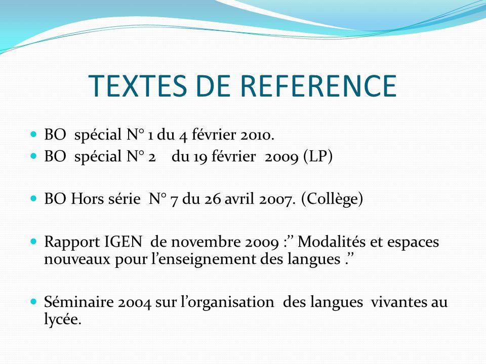 TEXTES DE REFERENCE BO spécial N° 1 du 4 février 2010.