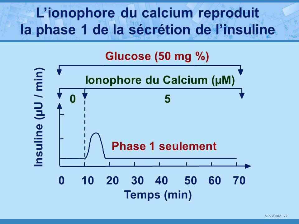 L'ionophore du calcium reproduit la phase 1 de la sécrétion de l'insuline