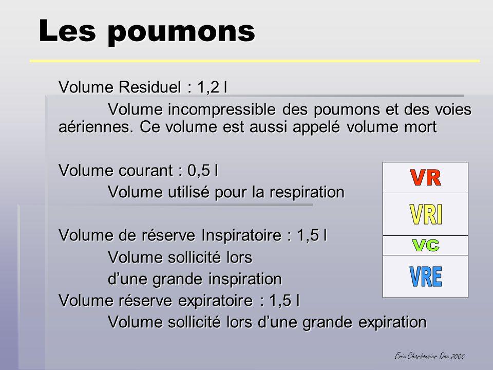 Les poumons Volume Residuel : 1,2 l