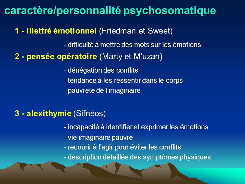 caractère/personnalité psychosomatique