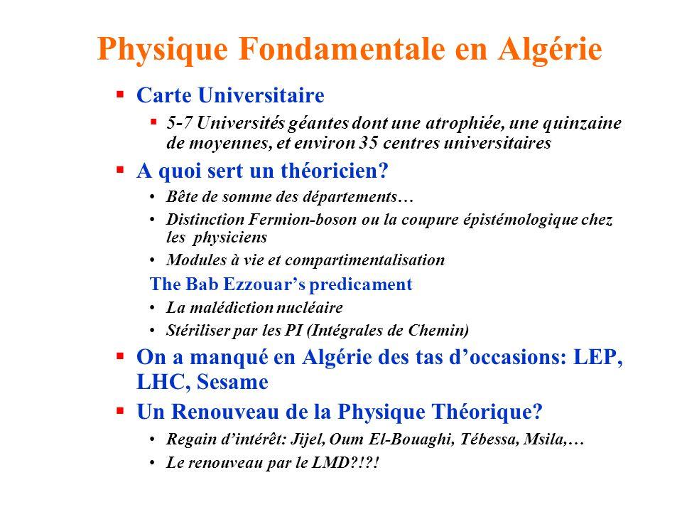 Physique Fondamentale en Algérie