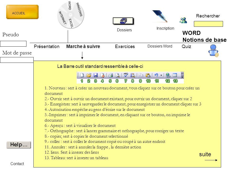 WORD Pseudo Notions de base Mot de passe suite Rechercher Présentation