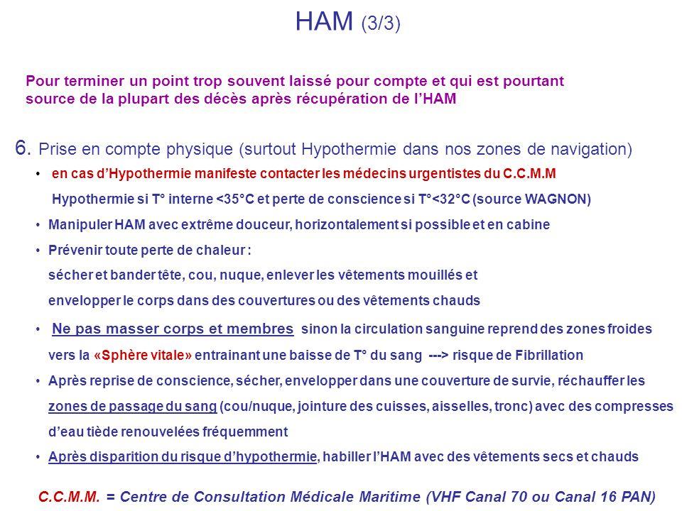 HAM (3/3)Pour terminer un point trop souvent laissé pour compte et qui est pourtant source de la plupart des décès après récupération de l'HAM.