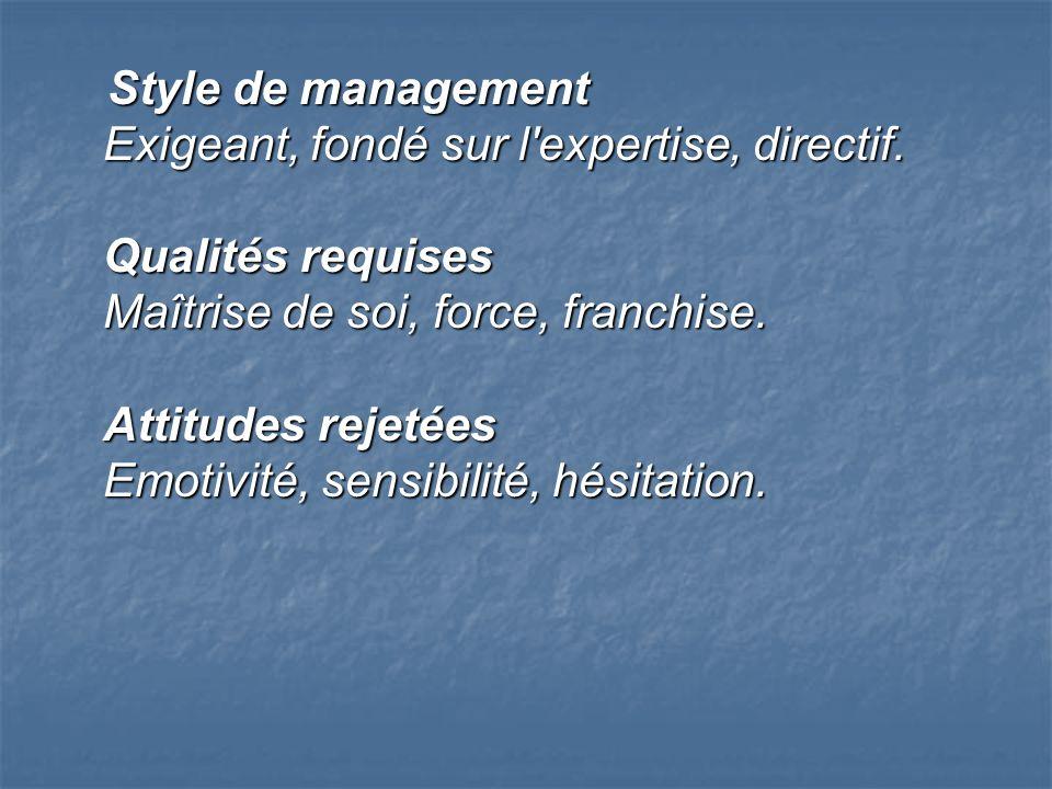 Style de management Exigeant, fondé sur l expertise, directif