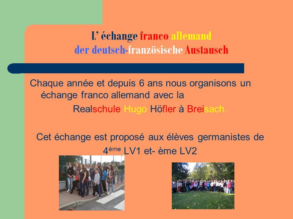 L' échange franco allemand der deutsch-französische Austausch