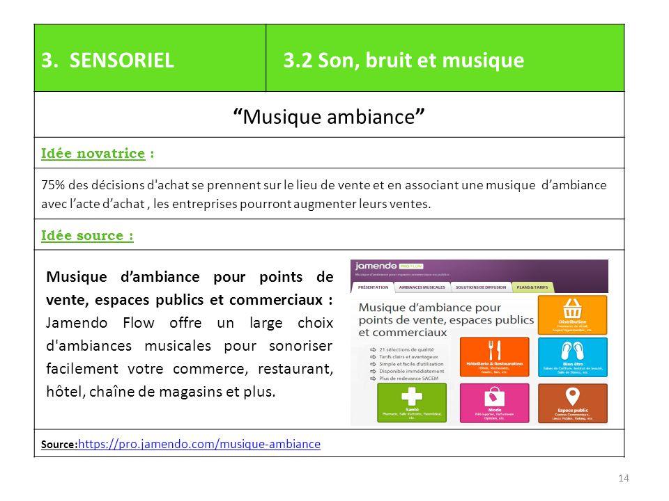3. SENSORIEL 3.2 Son, bruit et musique Musique ambiance