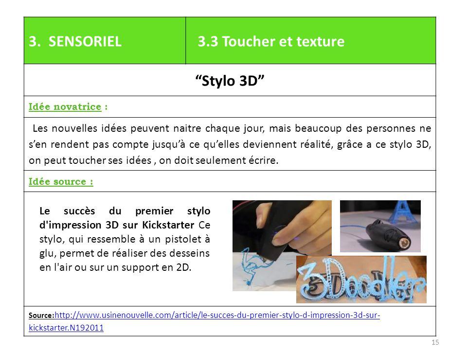3. SENSORIEL 3.3 Toucher et texture Stylo 3D