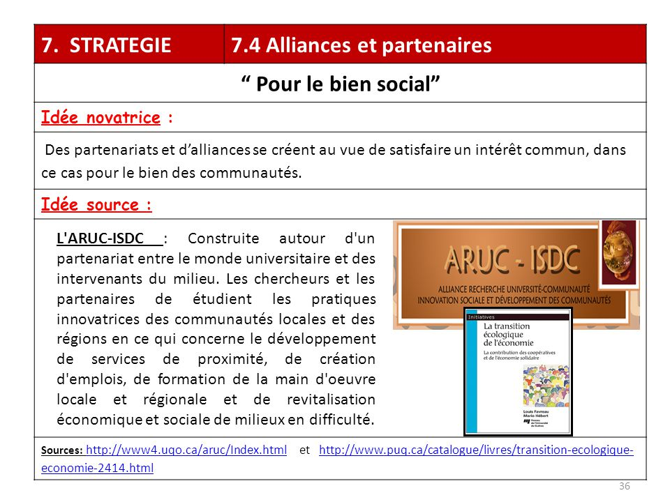 7.4 Alliances et partenaires Pour le bien social