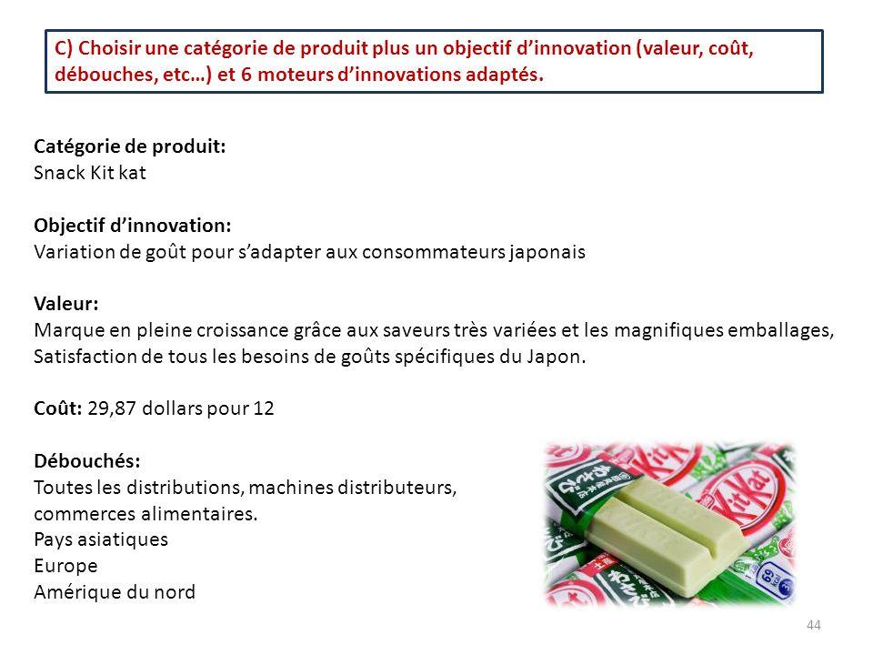 C) Choisir une catégorie de produit plus un objectif d'innovation (valeur, coût, débouches, etc…) et 6 moteurs d'innovations adaptés.