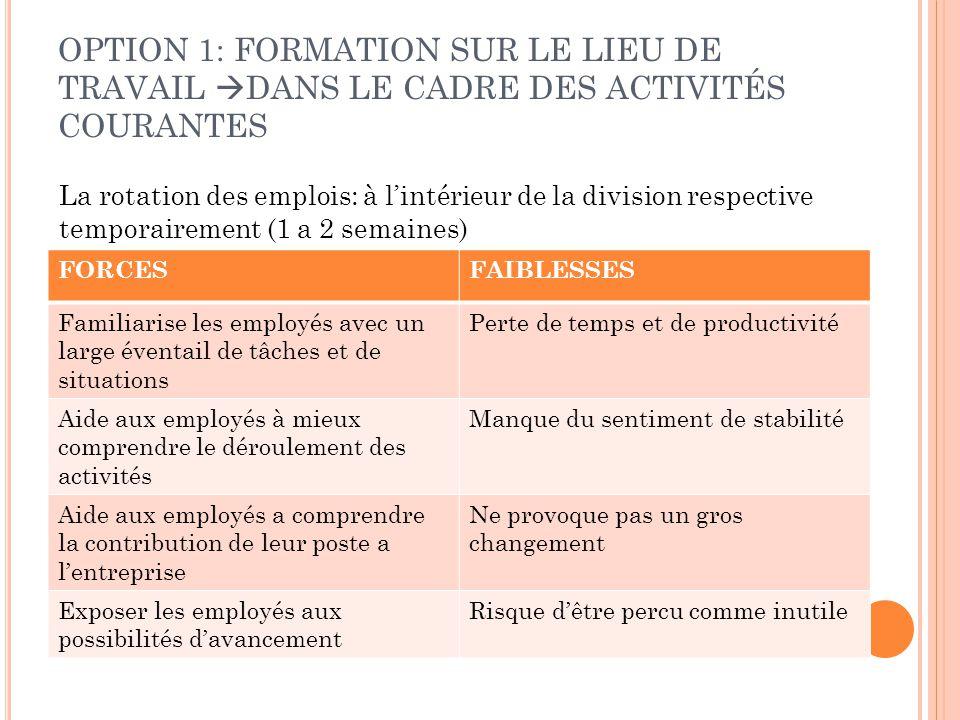 OPTION 1: FORMATION SUR LE LIEU DE TRAVAIL DANS LE CADRE DES ACTIVITÉS COURANTES