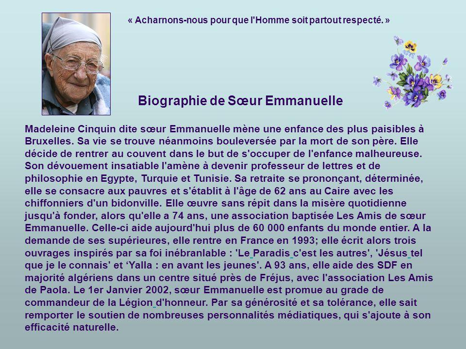 Biographie de Sœur Emmanuelle
