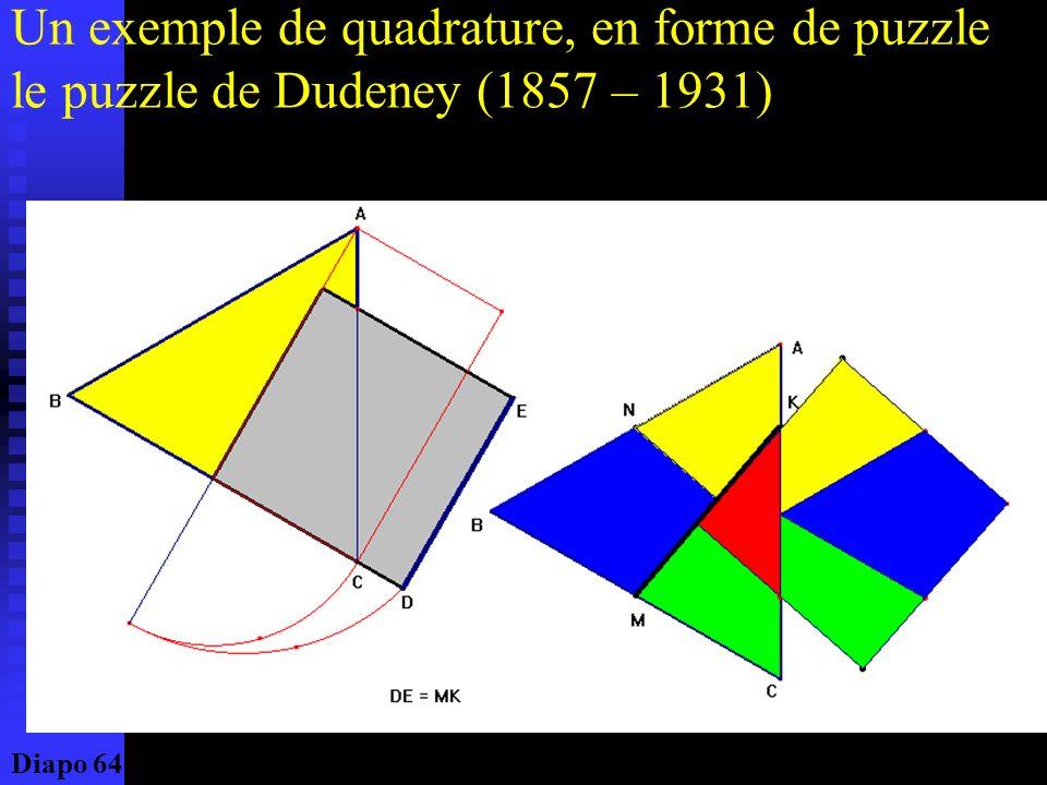 Un exemple de quadrature, en forme de puzzle le puzzle de Dudeney (1857 – 1931)